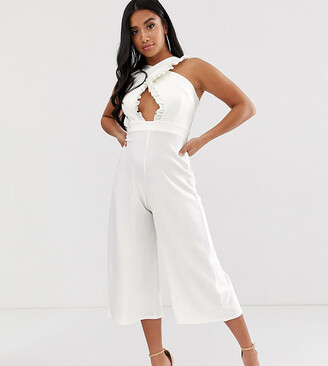 Outrageous Fortune Petite cross front jumpsuit in white