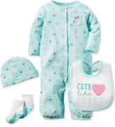 Carter's Baby Girls' 4-Pc. Floral Converter Gown, Cap, Bib & Socks Set