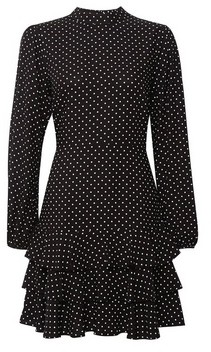 Dorothy Perkins Womens Black Spot Print Ruffle Skirt Fit And Flare Dress, Black