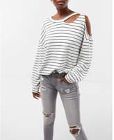 Express one eleven striped slash neck cold shoulder sweatshirt