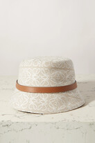 Thumbnail for your product : Loewe Leather-trimmed Embroidered Cotton-blend Bucket Hat - White