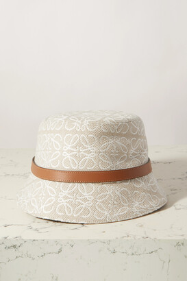 Loewe Leather-trimmed Embroidered Cotton-blend Bucket Hat - White