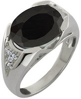Gem Stone King 4.11 Ct Oval Black Onyx and White Diamond 18k White Gold Ring