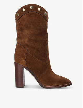 Saint Laurent Kate studded suede heeled boots
