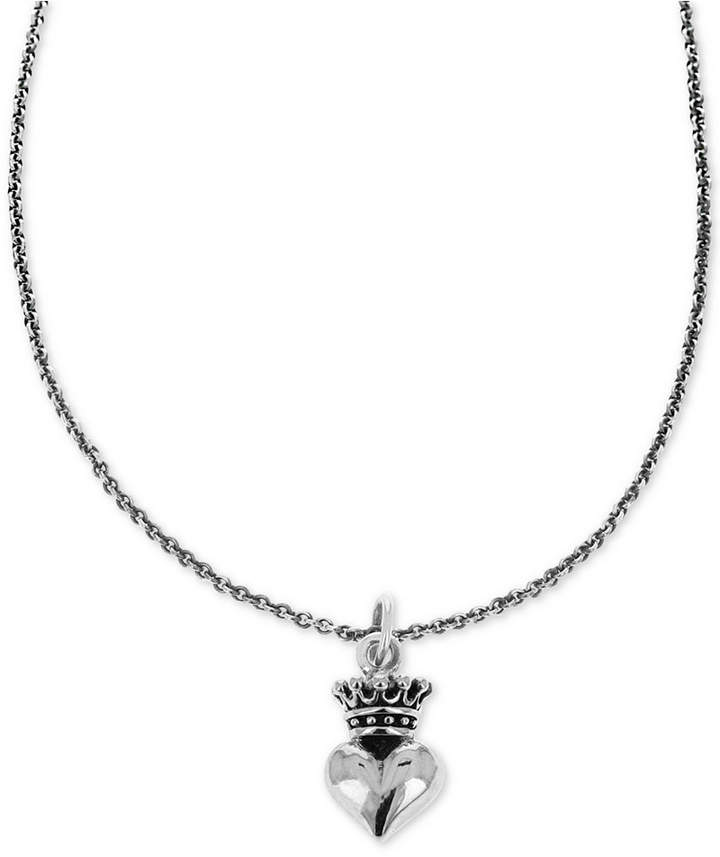 "King Baby Studio Women's Crown Heart 18"" Pendant Necklace in Sterling Silver"