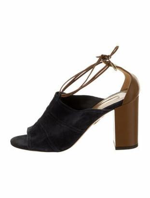Aquazzura Suede Leather Trim Embellishment Slingback Sandals Blue