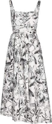 A.W.A.K.E. Mode Monochromatic Floral-Print Crepe Midi Dress