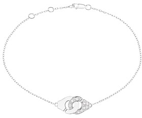 Dinh Van 18K White Gold Menottes Chain Bracelet with Diamonds