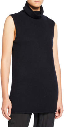 Vince Sleeveless Ribbed Funnel-Neck Cashmere Top