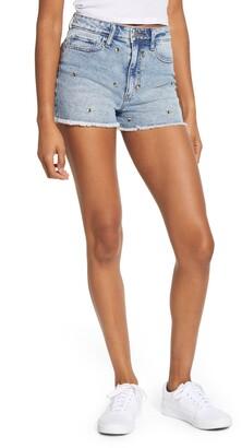 Tinsel Embroidered Cutoff Shorts