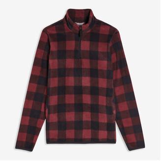 Joe Fresh Men's Plaid Quarter-Zip Jacket, Dark Red (Size S)