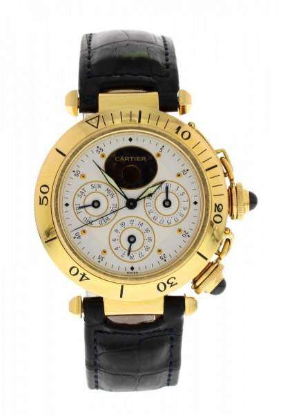 Cartier Pasha 0985 18K Yellow Gold & Leather Automatic 38mm Mens Watch