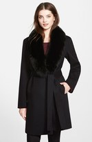 Fleurette Women's Wool Wrap Coat With Genuine Fox Fur Collar