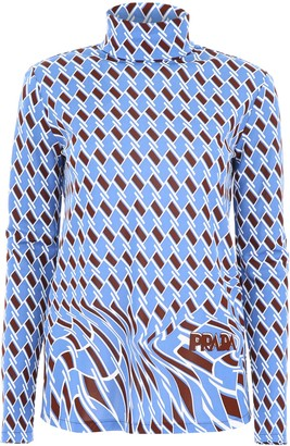 Prada High-Neck Patterned Blouse