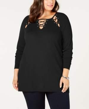 Belldini Black Label Plus Size Laced Grommet Sweater