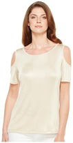 Calvin Klein Metallic Cold Shoulder Top Women's Short Sleeve Knit