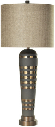Stylecraft Pelham Ceramic Body & Brushed Brass Metal Base Table Lamp