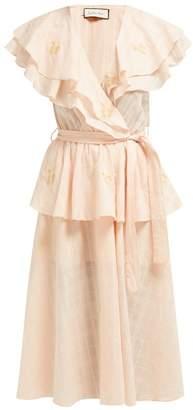 Innika Choo Rose-embroidered Cotton-voile Midi Dress - Womens - Pink Multi