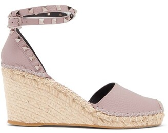 Valentino Rockstud Leather Espadrille Wedges - Nude
