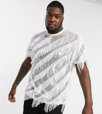 Asos Design DESIGN Plus festival relaxed t-shirt with sequins and diagonal fringing in white