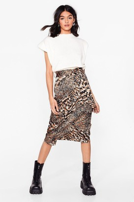 Nasty Gal Womens Bold Moves Animal Belted Midi Skirt - Brown - 6, Brown