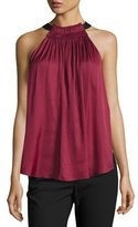 Halston Sleeveless Halter-Neck Ruched Top, Dark Wildberry
