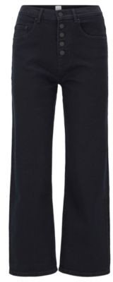 BOSS Relaxed-fit jeans in dark-blue stretch denim