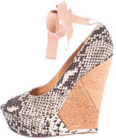 Lanvin Printed Peep-Toe Wedges