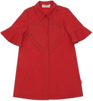 Simonetta Cotton Poplin Shirt Dress W/ Heart