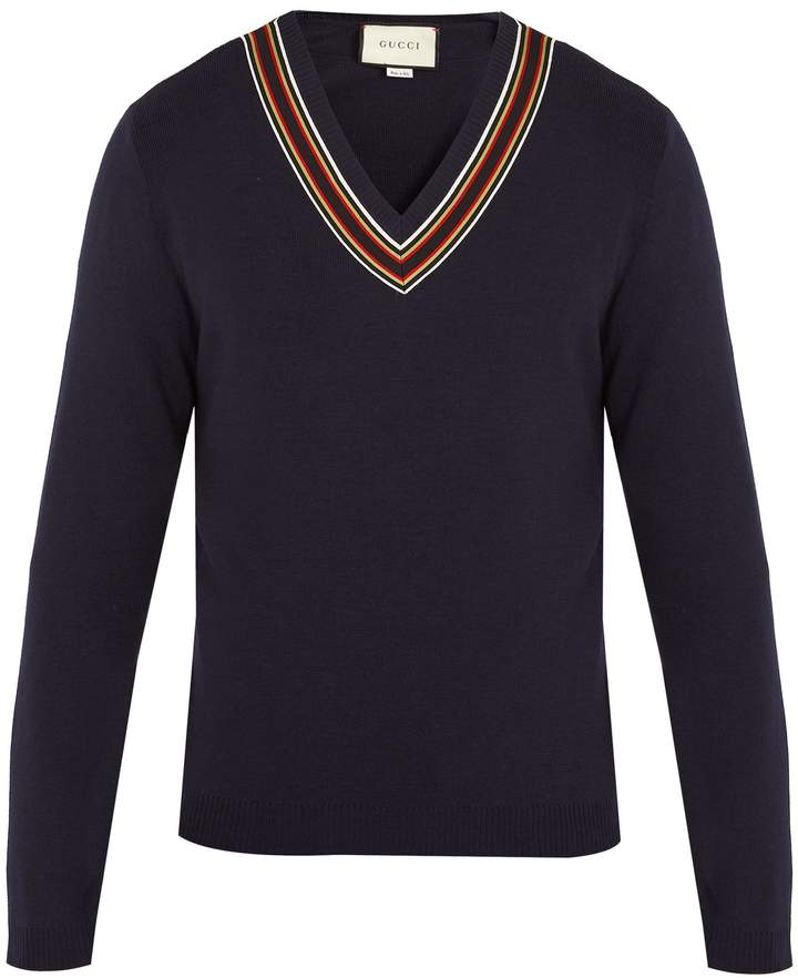 Gucci V-neck ribbon-trimmed wool sweater