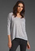 Nadalia Heather Grey Stripe Long Sleeve Top