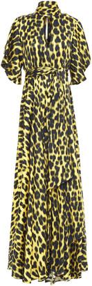 Just Cavalli Tie-neck Cutout Leopard-print Satin Maxi Dress