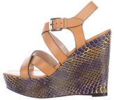 Barbara Bui Python Platform Wedge Sandals