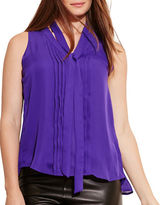 Lauren Ralph Lauren Plus Pleated-Front Georgette Top