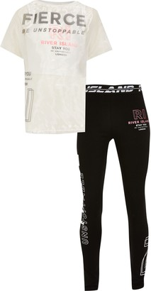 River Island Age 13+ girls White RI Active t-shirt outfit