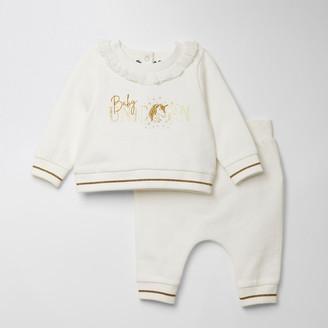 River Island Baby white 'Baby unicorn' sweatshirt outfit