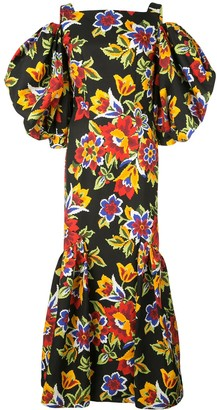 Carolina Herrera Cold Shoulder Floral Dress