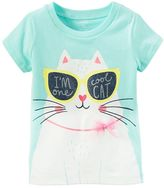 "Carter's Toddler Girl I'm One Cool Cat"" Glitter Graphic Tee"