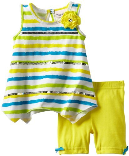 Little Lass Baby-Girls Infant 2 Piece Short Set With Flower, And Stripes