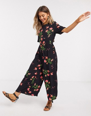 ASOS DESIGN tea jumpsuit with button back detail in floral print