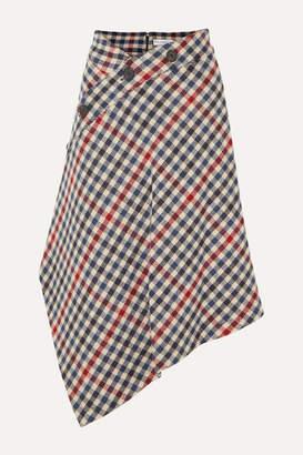 J.W.Anderson Asymmetric Checked Wool-blend Midi Skirt - Navy
