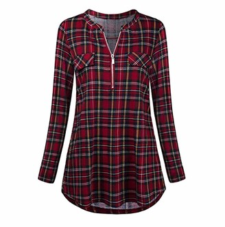 Tuduz Blouse Clearance!!! Women Blouse TUDUZ Ladies Casual Rolled Sleeve Tunic Tops Zipped V-Neck Plaid Printed Long Sleeve T Shirt (Red L=UK(12))