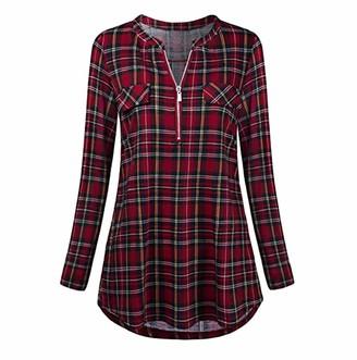 Tuduz Blouse Clearance!!! Women Blouse TUDUZ Ladies Casual Rolled Sleeve Tunic Tops Zipped V-Neck Plaid Printed Long Sleeve T Shirt (Red L=UK(12))