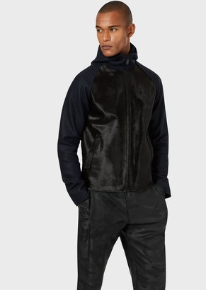 Emporio Armani Ponyskin Blouson With Virgin Wool Sleeves