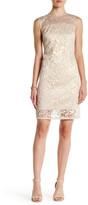 Carmen Marc Valvo Sheer Floral Jacquard Shift Dress