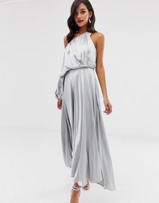 Asos Edition EDITION blouson one shoulder dress in satin-Blue