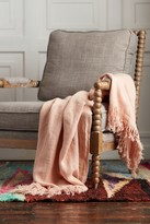 Ya-Ya And Co Palm Dusty Rose Linen Frill Edge Throw