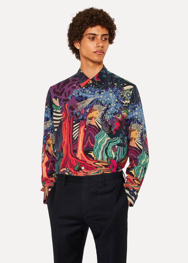 Paul Smith Men's Slim-Fit 'Dreamer' Print Wool-Blend Shirt