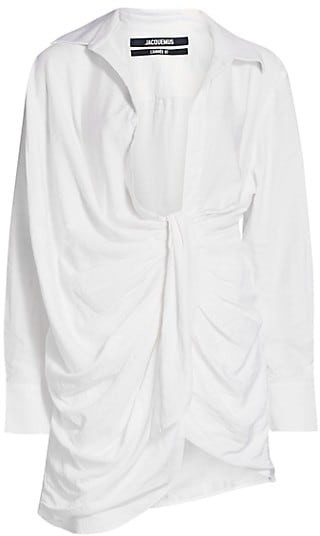 Jacquemus La Robe Bahia Draped Satin Shirtdress