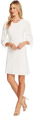 CeCe 3/4 Sleeve Seersucker Lace Dress with Ties (Soft Ecru) Women's Dress